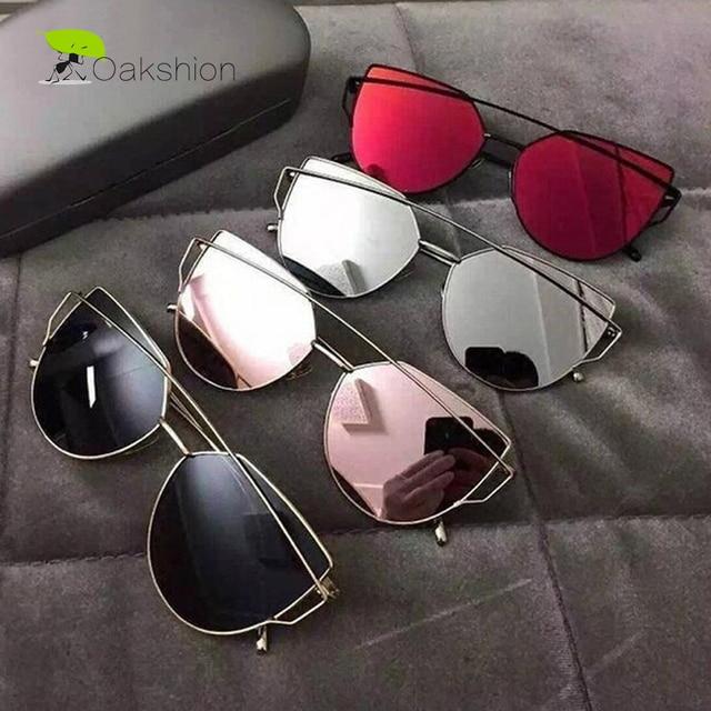 b535493b92db4 2018 Nova Moda olho de Gato Óculos De Sol Mulheres Grife Cateye Óculos de Sol  Espelhado