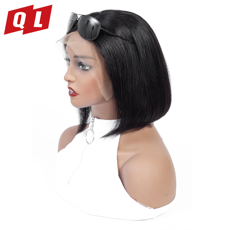 QLOVE HAIR 4x4 Straight Hair Bob Wigs Brazilian 100 Human Hair Wigs Natural Color Remy Hair
