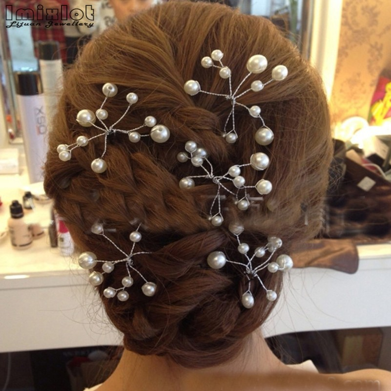 5 Pieces Women <font><b>Wedding</b></font> <font><b>Hair</b></font> <font><b>Accessories</b></font> Bridal Bridesmaid <font><b>Hair</b></font> <font><b>Accessories</b></font> Pearl <font><b>Headpiece</b></font> <font><b>Hair</b></font> Pin <font><b>Hair</b></font> Jewelry <font><b>Accessories</b></font> Hot image