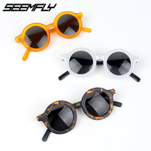 Seemfly 2019 New Fashion Round Kids Sunglasses Girls Boys Children Goggle Baby Anti-UV Sun Glasses Shades Colorful UV400 Eyewear