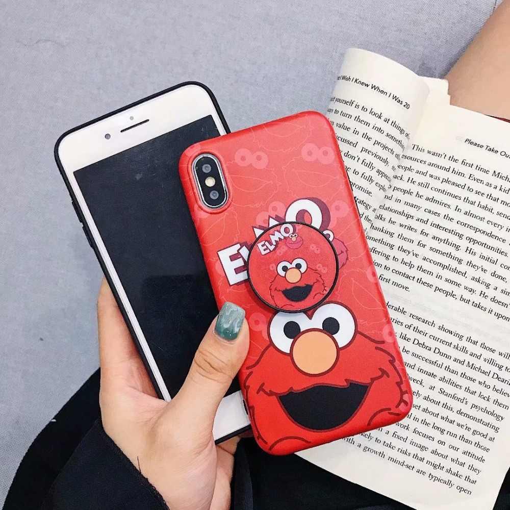 Sevimli Karikatür Susam Sokak Çerez Elmo Telefon iPhone için kılıf X XS Max XR Çift Yumuşak Silikon Kapakları iPhone 6 6 s Artı 7 8 Artı
