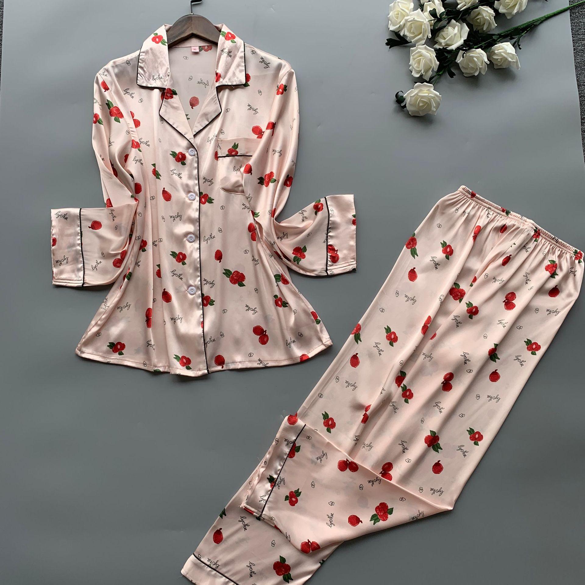 Image 4 - 2019 Satin Pyjamas Women Pajamas Sets with Pants 2019 Flower Print Long Sleeve Silk Sleepwear Pijama Mujer Female NightsuitPajama Sets   -
