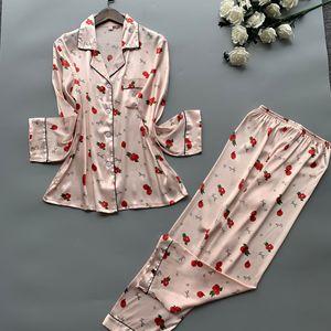 Image 4 - 2019 Satin Pyjamas Women Pajamas Sets with Pants 2019 Flower Print Long Sleeve Silk Sleepwear Pijama Mujer Female Nightsuit