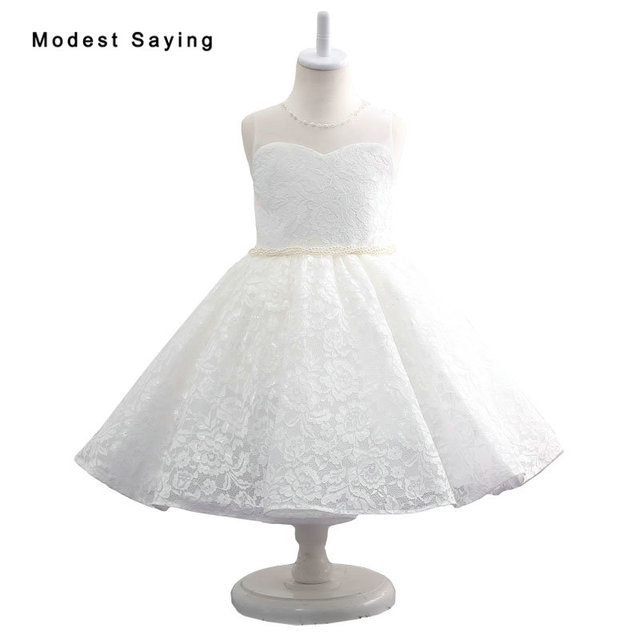 1f2449638d6 2017 New Ivory Lace Flower Girl Dresses with Pearls Knee-Length Wedding  Pageant Gowns First Communion Dresses for Little Girls
