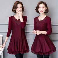 2018 autumn winter new plus size 4XL 5XL women lace dresses slim office lady diamond patchwork dresses clothing