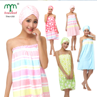 2015 New Women Bath Body Wrap Hair Turban Set 1PC Lot Microfiber Print Towel Wrap And