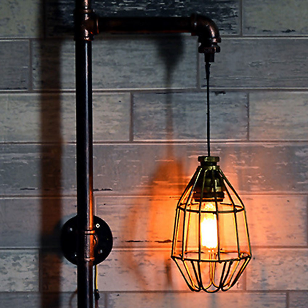 Metal Loft Home Lighting Sconces Vintage Water Pipe Wall Lamp for Cafe Bar Club Aisle Corridor Decor Fixture loft style metal cage ceiling lights hotel corridor creative ceiling lamps restaurant aisle balcony kitchen for home lighting