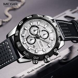 Image 3 - Megir Mens Military Sports Watches Leather Strap Top Brand Chronograph 3 Bar Waterproof Luminous Wrist Watch Man 2096G White