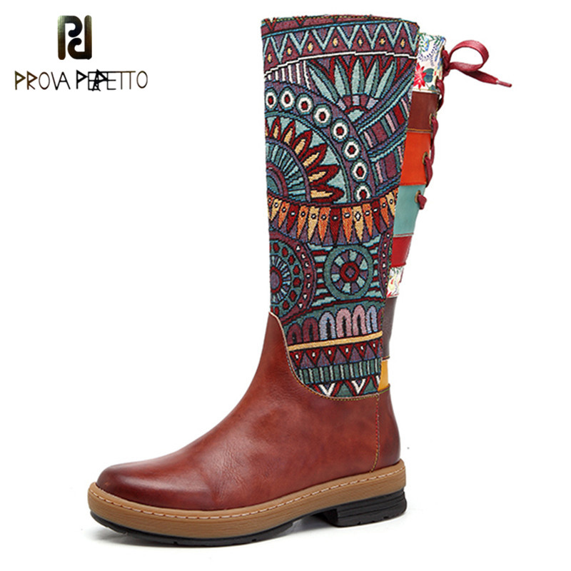 Prova Perfetto Women Mid calf Boots Vintage Retro Genuine Leather Shoes Bohemian Printed Patchwork Zipper Lace Up Cowboy Boots-in Mid-Calf Boots from Shoes    1