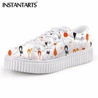 INSTANTARTS Female Flats Shoes Cute 3D Cat Cartoon Animal Print Women Flats Platform Shoes Fashion Creeper Shoes Girl Walk Shoes
