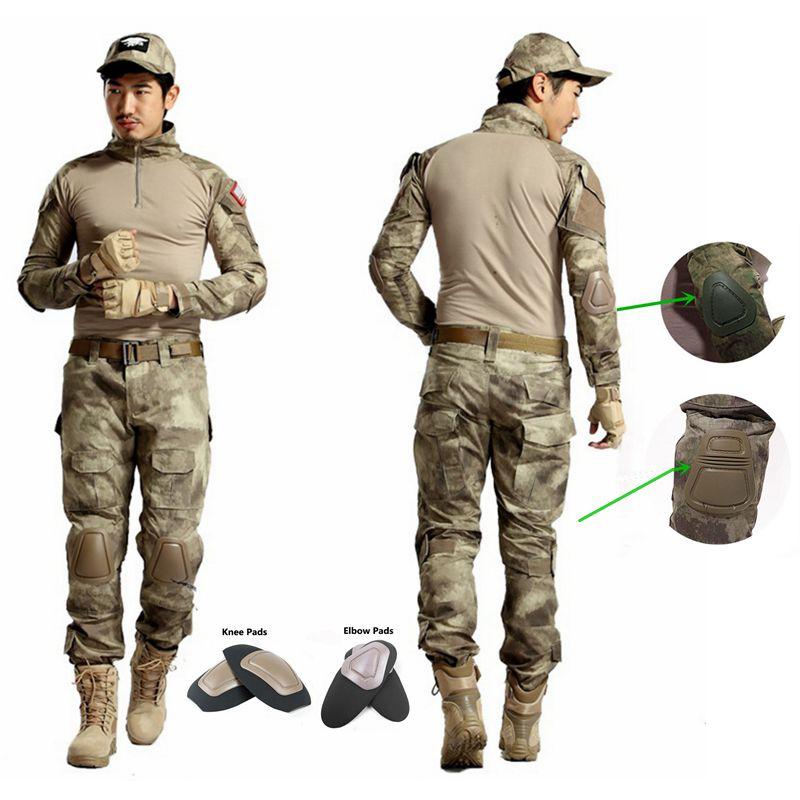 Tactical Army Uniform Outdoor Woodland Hunting Airsoft Uniform Camo Ghillie Suit Combat Shirt + Pants With Detachable Elbow Pads usmc digital urban camo v3 bdu uniform set war game tactical combat shirt pants ghillie suits