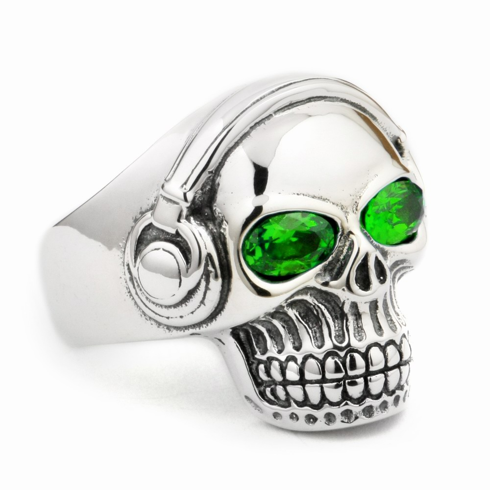 LINSION Green CZ Eyes 925 Sterling Silver DJ Skull Ring Studio Music Headphone Mens Biker Rock Punk Style 8Y811 US Size 7 to 15LINSION Green CZ Eyes 925 Sterling Silver DJ Skull Ring Studio Music Headphone Mens Biker Rock Punk Style 8Y811 US Size 7 to 15