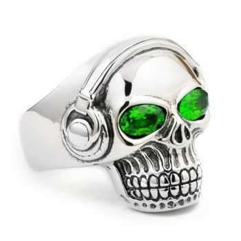 LINSION Green CZ Eyes 925 Sterling Silver DJ Skull Ring Studio Music Headphone Mens Biker Rock Punk Style 8Y811 US Size 7 to 15