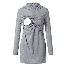 Мамы для беременных толстовка одежда для кормления Костюмы для беременных Осенне-зимняя Дамская обувь пуловер с капюшоном Верхняя одежда Топы 1080