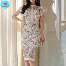 2019 new Korean womens ladies fashion temperament lotus leaf sleeves sexy lace print bag hip dress
