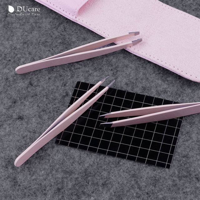 DUcare 3 PCS Eyebrow Tweezers Set Stainless Steel Flat Tip/Slant Tip/Point Tip Hair Removal Eye Tweezers with Pink Bag 5