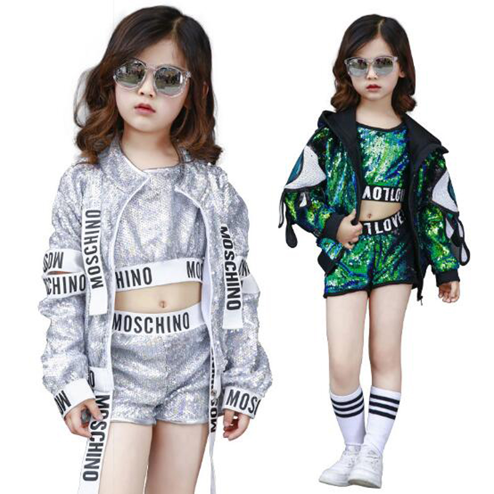 BAZZERY 110-180CM Children Jazz Dance Costume Boys Girls Street Dance Performance Wear Sequins Modern Kids Child Hip Hop Clothes