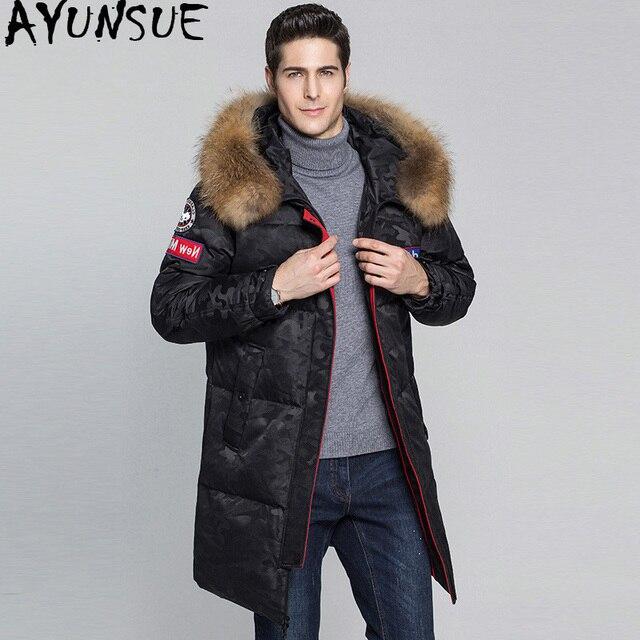 3efcb866c US $136.43 49% OFF|AYUNSUE 2018 New Duck Down Jacket Men Racoon Fur Collar  Men's Winter Jackets Long Camouflage Thick Warm Coat for Men Parka KJ563-in  ...