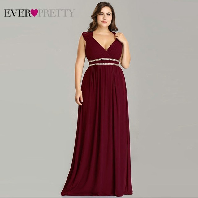 Ever Pretty Plus Size Formal Evening Dresses Long Women Elegant Burgundy V Neck Chiffon Empire Party Gown Robe De Soiree EP08697 1