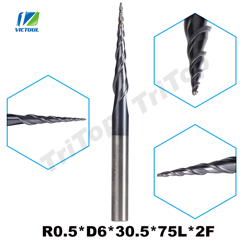 2pcs/lot R0.5*D6*30.5*75L*2F HV3300 solid Tungsten carbide Coated Ball Nose Taper End Mill cone type cnc milling cutter tool hrc55 r0 2 r0 5 r0 75 r1 0 r0 72 taper ball end carbide tungsten solid steel milling cutter alloy taper endmill