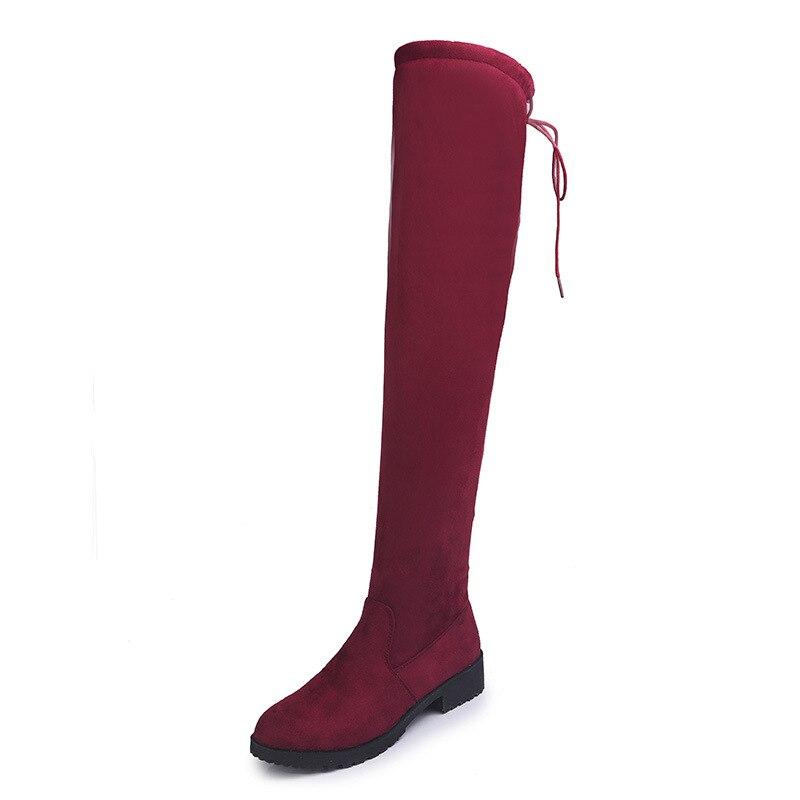 2018 autunno e in inverno piatto con stivali in pelle scamosciata delle donne Europa e gli stati Uniti di grandi dimensioni dopo le donne stivali rossi 1018