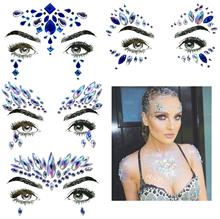 FEECOLOR 4 Sets Mermaid Face Gems Rhinestone Festival Jewels Eyes Face Body Temporary Tattoos Crystals Rainbow Tears Stickers все цены