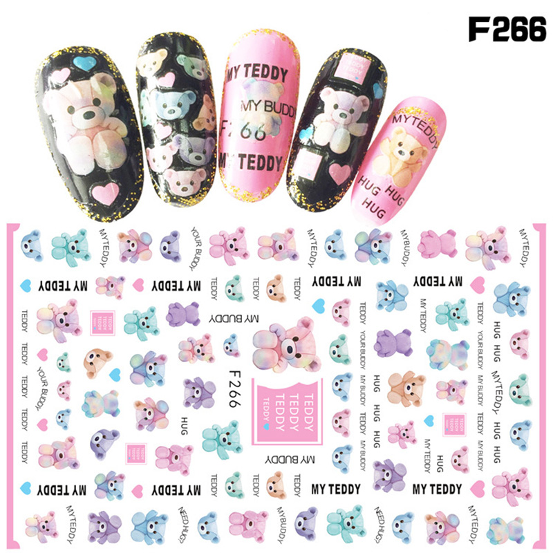 Self Adhesive Nail Art Sticker 3d Little Pink Brown Happy Teddy Bear Duck Women Girl Manicure Decals Diy Nails Beauty Wraps Gift