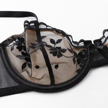 shaonvmeiwu Super thin no sponge transparent bra sexy bra set female perspective mesh embroidery underwear summer 4