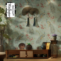 Chinese style rustic peacock non woven 3d wallpaper Murals for Living Room TV background 3d wall paper Home Decor