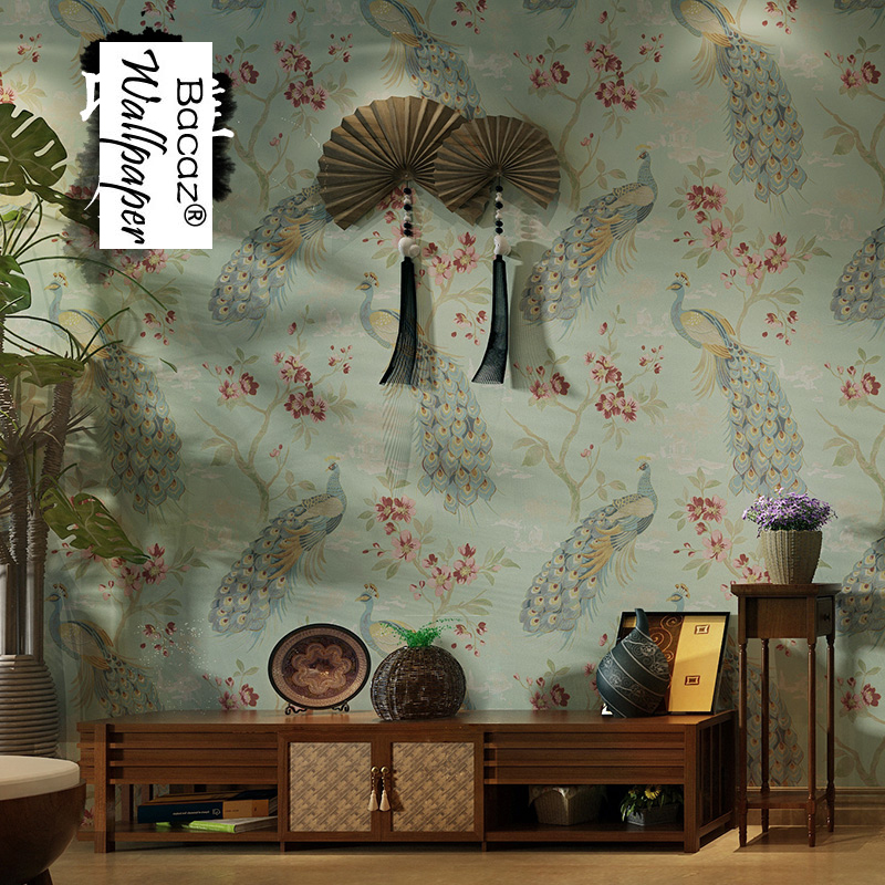 Chinese style rustic peacock non-woven 3d wallpaper Murals for Living Room TV background 3d wall paper Home Decor