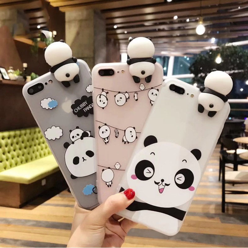 3D Cute Panda Case For OPPO R17 RX17 Pro F7 F5 F1 Plus Youth R9 A37 A59 A71 A83 A57 A33 A3 A3S A73 A79 Translucent Cover