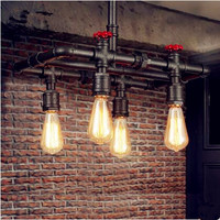 Rustic Loft Style Vintage Industrial Lamp With 5 Edison Lights Retro Water Pipe Pendant Light Hanglamp Lamparas Colgantes