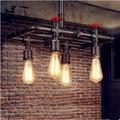 Rústico Loft Estilo Industrial Do Vintage Lâmpada Com 5 Luzes Edison Luz Pingente de Tubulação de Água Retro Hanglamp Lamparas Colgantes
