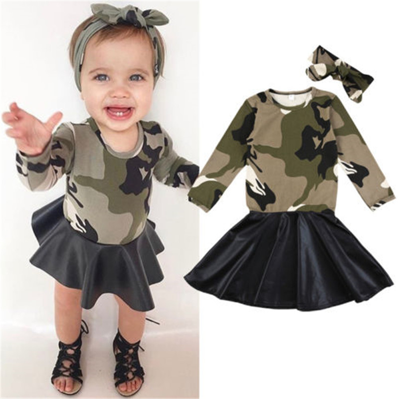 872cde96a6e53 New Year's Costumes For Girls Xmas Toddler Kids Baby Girls Camo PU  Patchwork Dresses Kids Long Sleeve Dress For Girls Vestidos