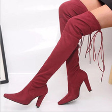 Fashion Runway Crystal Stretch Fabric Sock Boots Pointy Toe Over-the-Knee Heel Thigh High Pointed Toe Woman Boot choudory 2017 fashion runway stretchy sock boots point toe stiletto heel thigh high boot kylie jenner shoes woman crotch booties