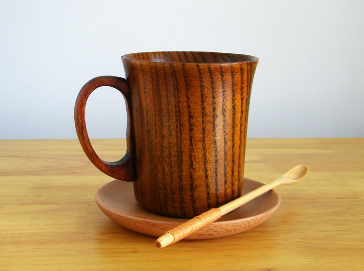 300ml Primitive Wooden Beer Mugs with Handle Natural Wood Mug Coffee Cup Tableware Kitchen Supply (6)