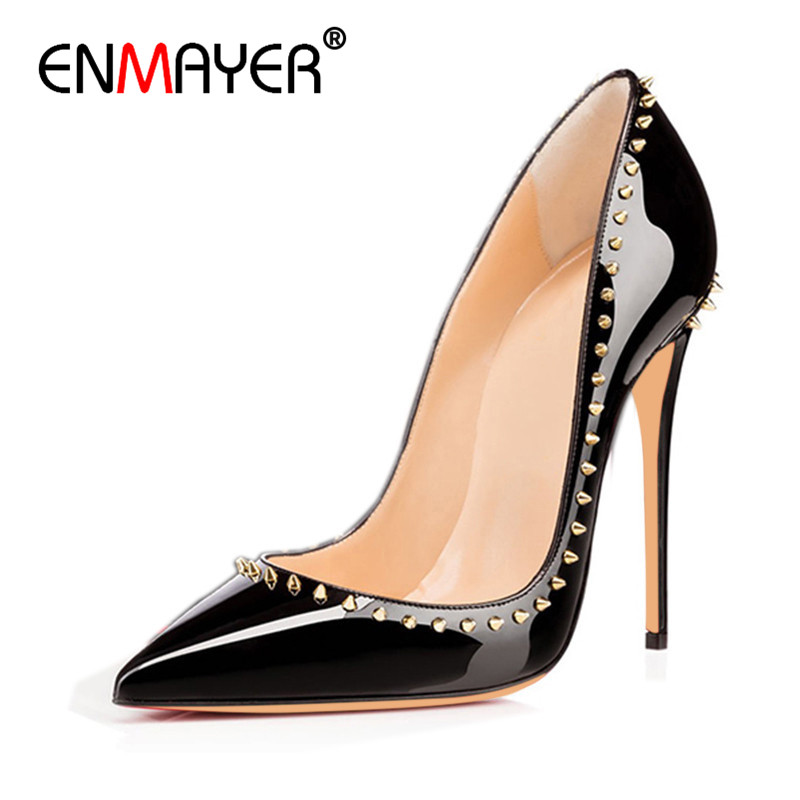 ENMAYER Rivets Charms Shoes Woman Black & Apricot Sexy Supper High Heels Plus Size 34-44 Pointed Toe Pumps office & Party Shoes comfy women pointed toe square high heels office shoes woman flock ladies pumps plus size 34 40 black grey high quality