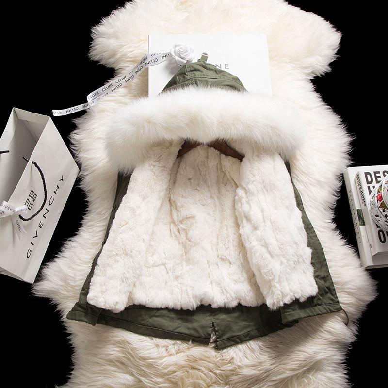 JKP Мужская и женская куртка детские пальто с мехом Николь мех действительно натуральный кролика Рекс волосы большой кос волосы воротник SW 16
