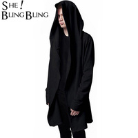 Men Hooded With Black Gown Best Quality Hip Hop Mantle Hoodies And Sweatshirts Long Sleeves Design