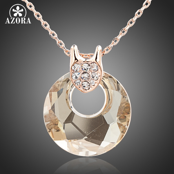AZORA Rose Gold Color Gold Round Stellux Austrian Crystal Jewelry Pendant Necklace TN0101
