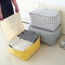 New Simple Cloest Organizer 1 Pcs Durable Storabe Bag Quilt Blnket Sock Stuff Container Portable Folding Closet Tidy Case S M L(China)
