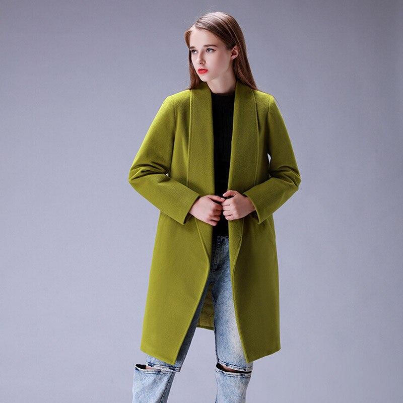 Slim Chaud Solide Xxl Mélange Hiver Manteau Européenne Laine New De Pardessus Blue green Lb2582 gray Mode Casual 2016 red Revers Femmes Veste CqS655w