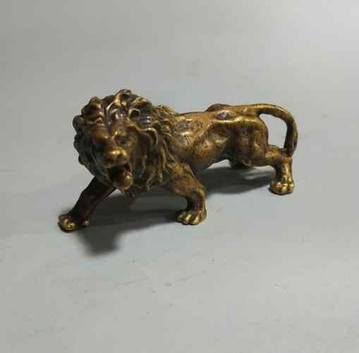 จีน archaize ทองเหลืองสิงโตขนาดเล็กรูปปั้น #3