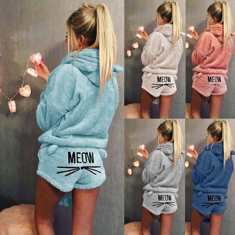 Women Winter Warm Pajamas Suit Plush Hoodie Cute Cartoon Cat Pattern Shorts -MX8