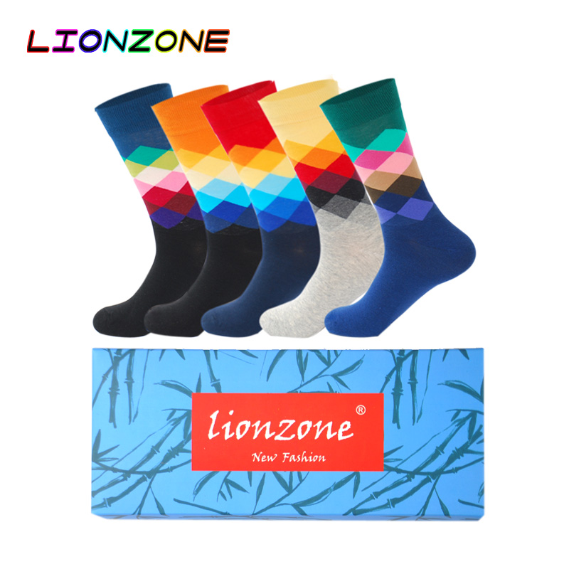 LIONZONE 5Pairs/Lot Men Gradient Brand Harajuku Colorful Dress Knit Long Funny Socks Combed Cotton Socks Wedding