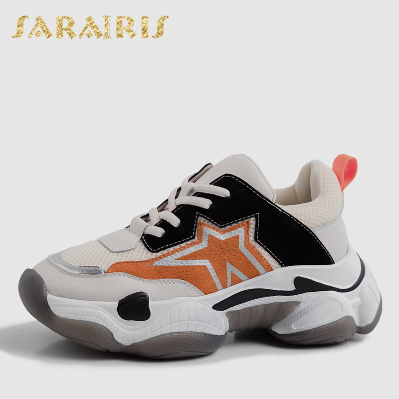 Sarairis 2019 New INS Hot Whole Genuine   Leather     Suede   Sneakers Women Spring Platform Dad Shoes Woman   Leather   Women Shoes