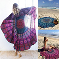 Women's Fashion Charming Relax Circle Shawl Pashmina Beach Towel Plaid Cape Sunblock Cover-up Casual Smock Blue/ Rose Red