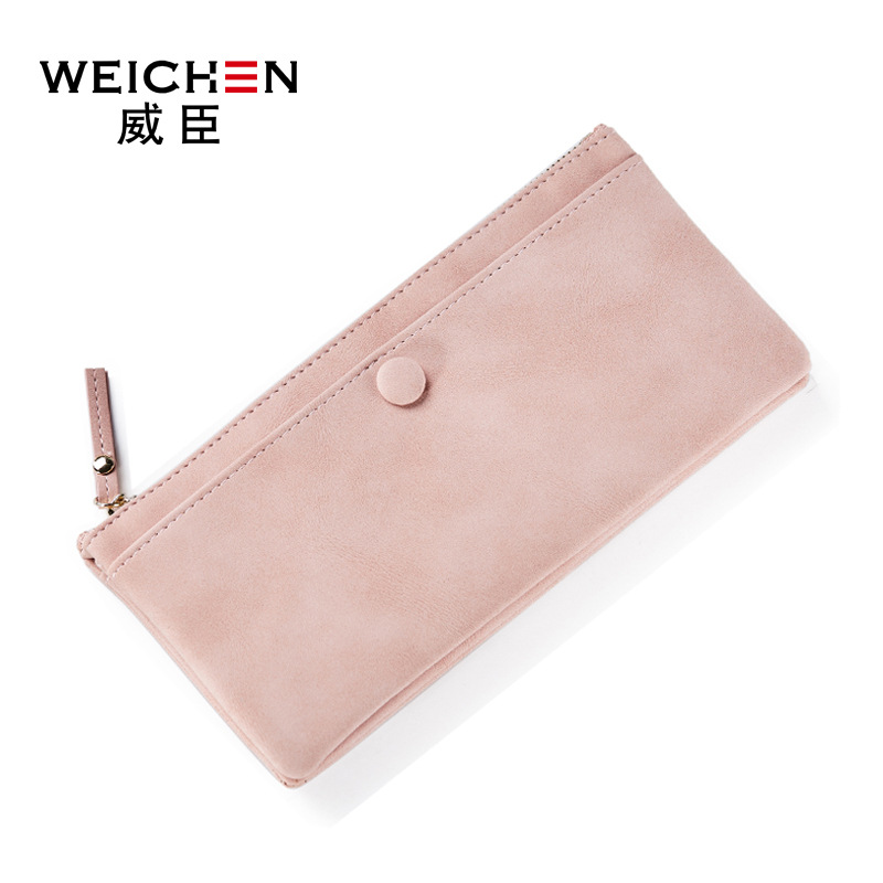 2017 new arrival fashion women wallets brand long wallet solid PU solid color high quality thin zipper wallets for women