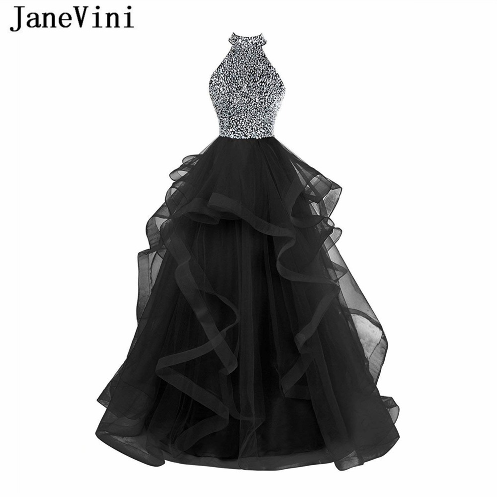 JaneVini Charming Black Tulle Sequins Beaded Long   Bridesmaid     Dresses   A Line Halter Backless Floor Length Women Formal Prom Gowns