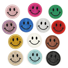 DOUBLEHEE Size 5.5cm*5.5cm Smile Patch Embroidered Patches For Clothing Iron On Close Shoes Bags Badges Embroidery